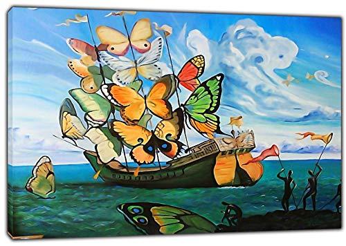 HYFBH Arte de la Lona Impresión Barco Mariposa Pintura al óleo Salvador Dali Lienzo Arte de la Pared Imagen Decoración del hogar Lienzo Pintura 40x60cm (15.7x23.6 Pulgadas) con Marco