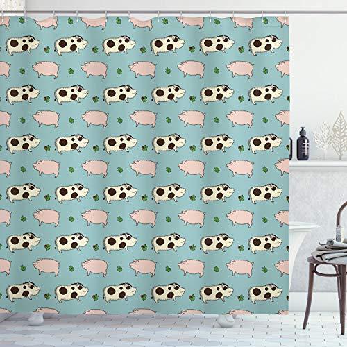 ABAKUHAUS Schwein Duschvorhang, Gekritzel-Schwein-Eber-Eichen-Zweig, mit 12 Ringe Set Wasserdicht Stielvoll Modern Farbfest & Schimmel Resistent, 175x200 cm, Mehrfarbig