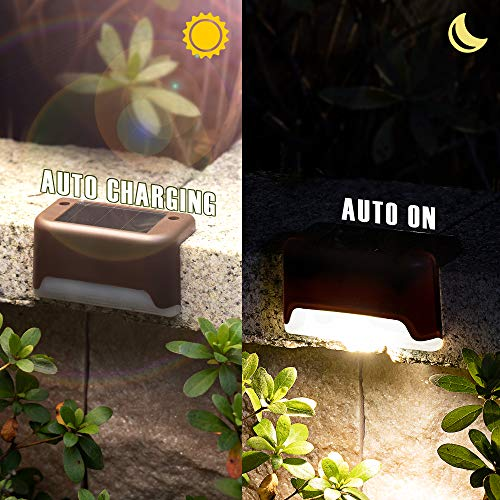 GIGALUMI Solar Deck Lights Outdoor, 16 Pack Solar Step Lights Waterproof Led Solar Lights for Outdoor Stairs, Step, Fence, Railing, Yard and Patio (Warm White)