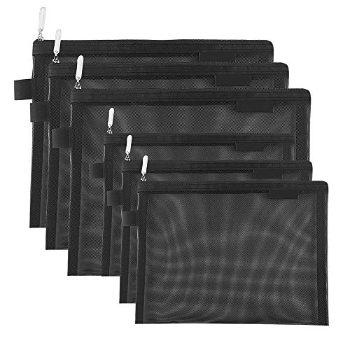 Topfinder 5/6 Stück Netz kosmetiktasche Mesh Makeup Taschen Mäppchen für Büros Reisezubehör Tasche Packung Tragbare Organizer Schreibwaren ((6A + 5A)* 3 Schwarz)