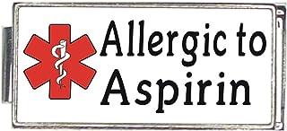 Allergic To Asprin White Medical Alert Italian Charm Superlink Bracelet Jewelry Link