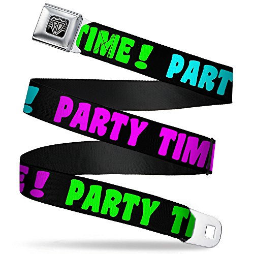 Buckle-Down Unisex-Adult's Seatbelt Belt Party Quote Regular, time Black/Green/Turquoise/Fuchsia, 1.5' Wide-24-38 Inches