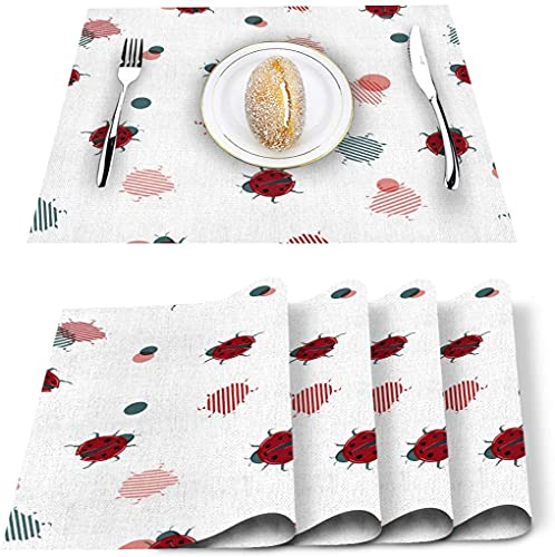 Set de 4 Sets de Table, napperons de Table en PVC de Plumes de Paon abstraites résistantes à la Chaleur napperons de Cuisine lavables antidérapants pour Table à Manger Table de Banquet de Vacances D