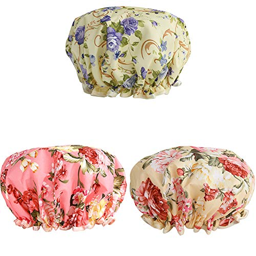 Shower Caps, 3 PACK Bath Cap for Women Waterproof & Adjustable Double Layered Shower Cap (Multi-colored-7)