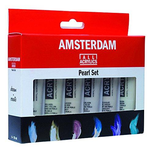 Juego de pintura acrílica de la serie estándar de Amsterdam, 6 unidades de 20ml, color perlado