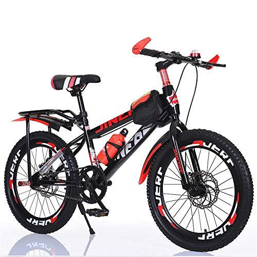 Bicicletas De Montaña 24 Pulgadas,Bicicleta De Freno De Disco Doble, Bicicleta De Montaña con Marco De Acero Al Carbono con Amortiguador deluxeversion Red