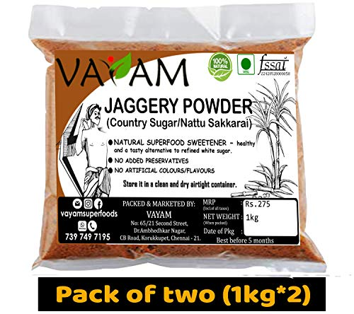 Vayam Jaggery Powder 2 kg - 100% Natural - Gur Powder/ Country Sugar/ Nattu Sakkarai/ Bellam