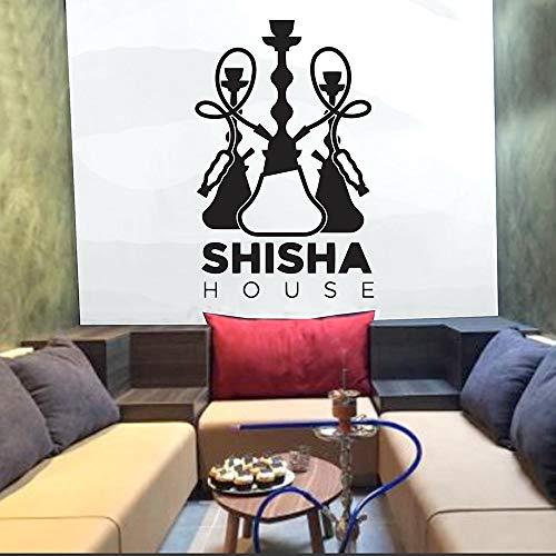 SUPWALS Pegatinas de pared Shisha House Wall Stickers Quote Art Tatuajes De Pared Decoración De La Casa Dormitorio Hookah Bar Patrón Decorativo Autoadhesivo Extraíble 42X64Cm