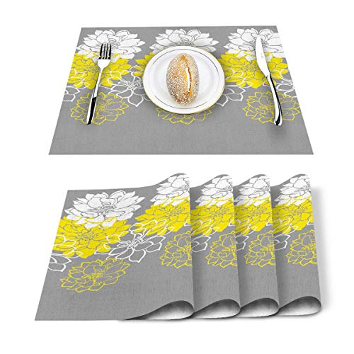 Dahlia Pinnata Floral Print Placemats Cotton Linen Heat Resistant Table Mats Set of 6 Non-Slip Placemat for Thanksgiving Halloween Christmas Holiday Dining Kitchen Abstract Yellow Gray and White
