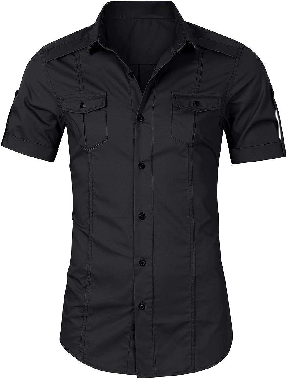 Satankud Men's Regular-Fit Shirts Short/Long Sleeve Cotton Casual Dress Shirt with Pockets