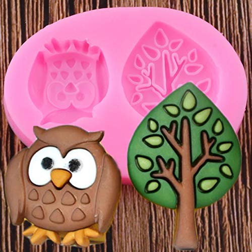 FGHHT 3D Cute Owl Tree Silicone Molds Cupcake Topper Fondant Cake Decorating Tools Resin Clay Chocolate Moulds