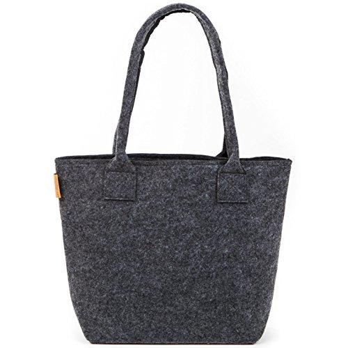 Premium Filz Shopper von Stil-Macher | Design Shopping Einkaufstasche |Handtasche | Strandtasche | Einkaufskorb aus hochwertigem und robustem Filz | Größe 40cm x 30cm x 32cm … (Anthrazit)