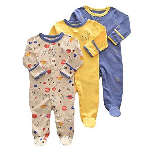 Bebé Mameluco de Algodón Piezas de 3, Recién Nacido Pelele Niño Niña Pijama Monos Manga Larga Body Ropa para Bebé 3-6 Meses