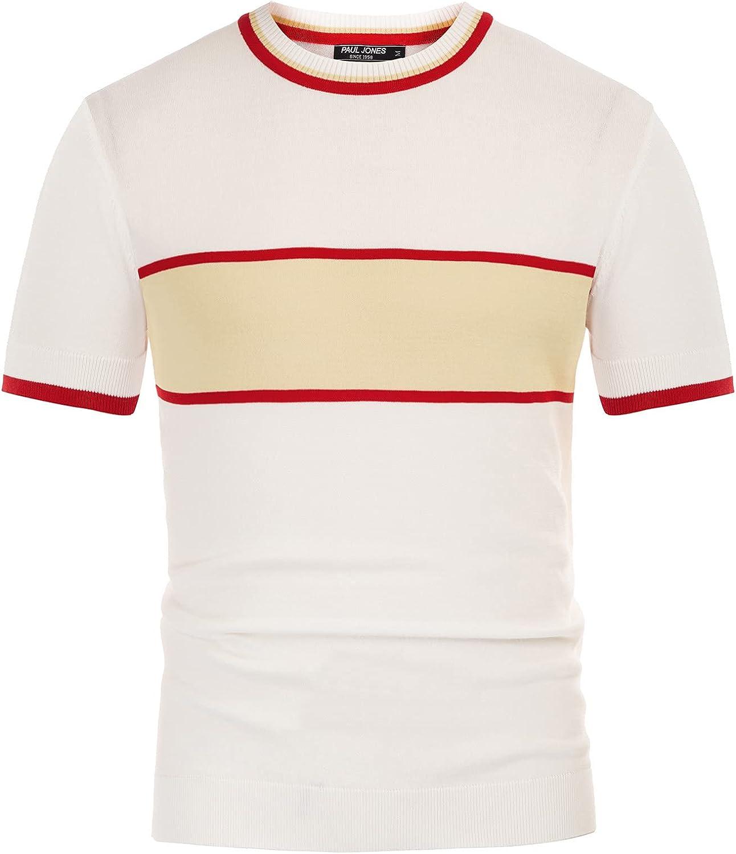 1960s Mens Shirts | 60s Mod Shirts, Hippie Shirts PJ PAUL JONES Mens Casual Color Block Contrast Pullover Sweater Crewneck Short Sleeve Knitwear  AT vintagedancer.com