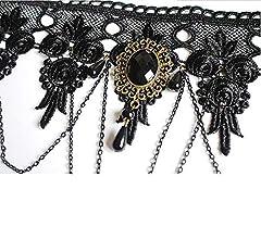Daimay Black Choker Lace Necklace with Bracelet Set Punk Party Gothic Vintage Handmade Lolita Retro Bracelet Wristband for Women #1