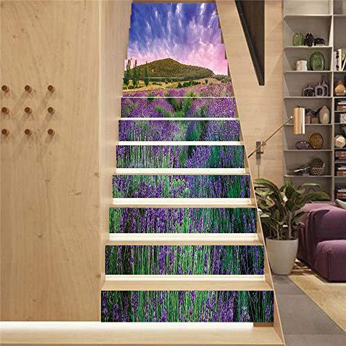 13 PCS 3D Violeta cielo Pegatinas de Escalera, Ecológicas PVC Autoadhesivas Calcomanías para Escalera Impermeables (18 cm X 100cm / 7.1x39.4inch)