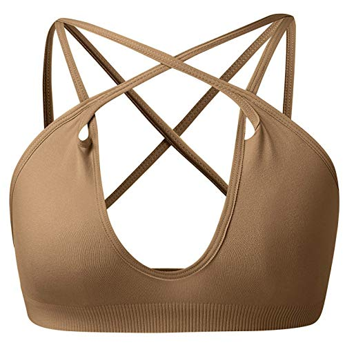 Cwang Sujetador Tipo Camiseta sin Aros con Relleno Ligero Suave para Mujer,marrón,L