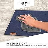 sølmo I 12er Premium Platzsets aus Filz Tischset Platzset 42x32 cm abwaschbar Filzuntersetzer Platzdeckchen Untersetzer Teller Platzset + Glas Untersetzer Echtholz Tisch geeignet Blau, Night Blue - 3