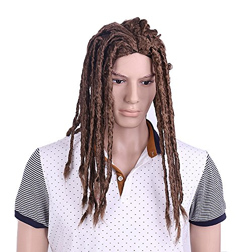 Premade Synthetic Cosplay Reggae Dreadlocks Wig African American Wigs (Brown)