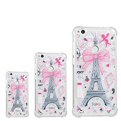 Qiaogle Teléfono Caso - Funda de TPU Flowing Liquid Floating Glitter Stars Quicksand Carcasa Cover para Huawei P8 Lite 2017 (5.2 Pulgadas) - YB90 / Paris