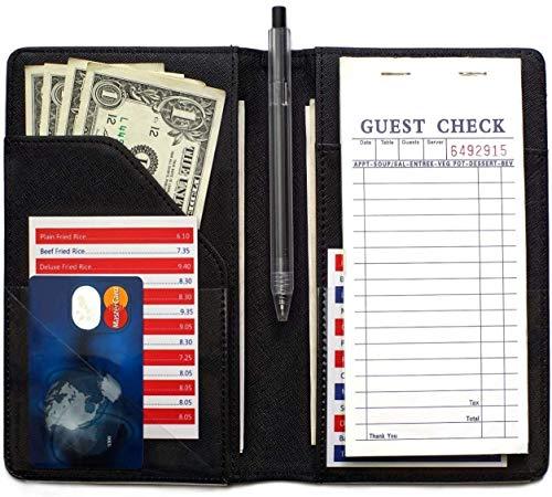 Server Books for Waitress (2020 Version)- Serving Book Waiter Booklet Server Wallet Waitress Book&Waitstaff Organizer with Money Pocket Fit Server Apron(Classic Black)