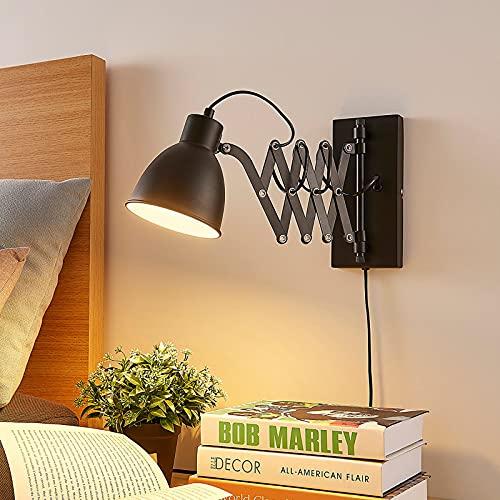 Lindby ausziehbare Wandlampe/Wandleuchte schwarz Metall mit Scherenarm | Leselampe drehbar, schwenkbar | Nachttischlampe Wand | Ziehharmonika Lampe 1 flammig | Scherenlampe