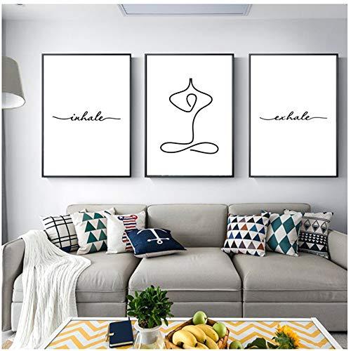 "NO BRAND Pintura Moderna en Lienzo Exhale Inhale Sin Dolor Sin Ganancia Texto y Cita Poster Yoga Wall Art Prints 20x30cm (7.8""x11.8) x3 Sin Marco"