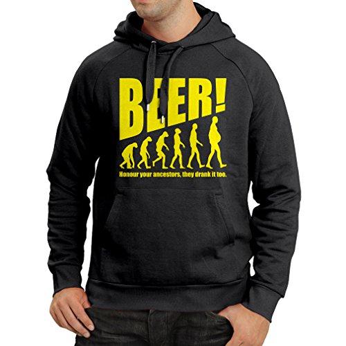 lepni.me Kapuzenpullover Die Beervolution - einzigartige lustige sarkastische Geschenkideen für Bierliebhaber, trinkende Evolution (Large Schwarz Gelb)
