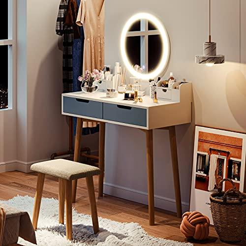 Tiptiper Coiffeuse Moderne   Table de Maquillage avec Un Mode d' Éclairage de 3 Couleurs   Ensemble de Coiffeuse Blanche avec Miroir LED, Tabouret, 2 Tiroirs, 2 Boîtes de Rangement   MDF & Chêne