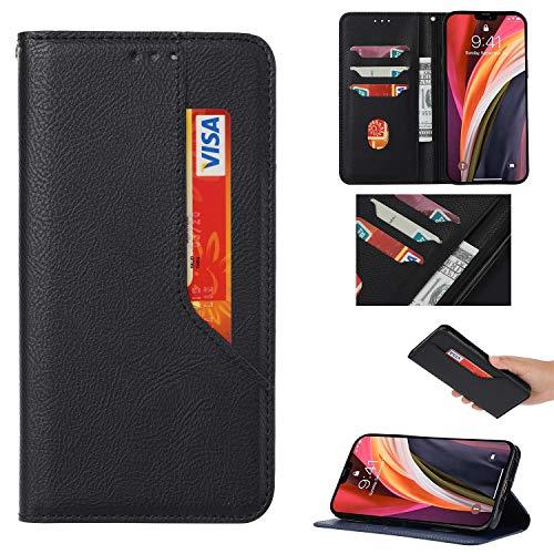 Snow Color Galaxy A40 Hülle, Premium Leder Tasche Flip Wallet Case [Standfunktion] [Kartenfächern] PU-Leder Schutzhülle Brieftasche Handyhülle für Samsung Galaxy A40 - COBKL010089 Schwarz