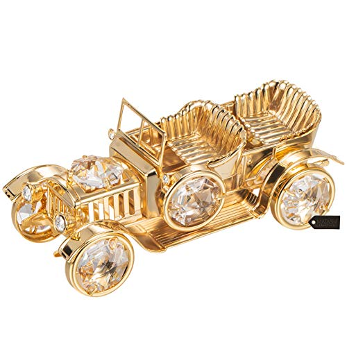 Matashi Dekoelement für Transport aus Kristallen, Vergoldet, Gold, Gold Plated Vintage Car
