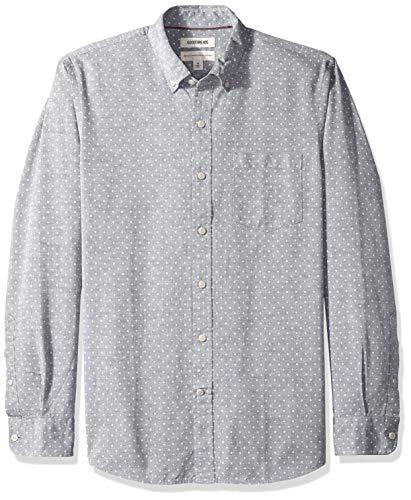 Amazon-Marke: Goodthreads Herrenhemd, langärmelig, normale Passform, Chambray, gepunktet, Blau (Navy White Dot), US M (EU M)