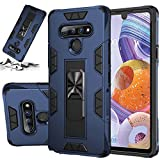 storm buy Phone Case for [ LG Stylo 6 ], Heavy Duty Armor Back Cover with [Shock Absorption] Protection, Kickstand Ring Blue Case for LG Stylo 6