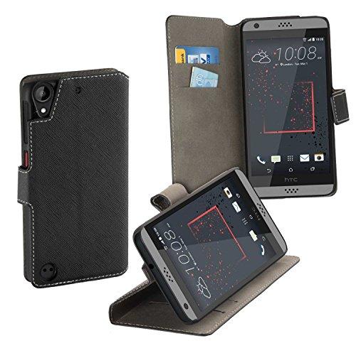 yayago Book Style Tasche Hülle für HTC Desire 530 / Desire 630 Hülle Klapphülle mit Standfunktion Schwarz