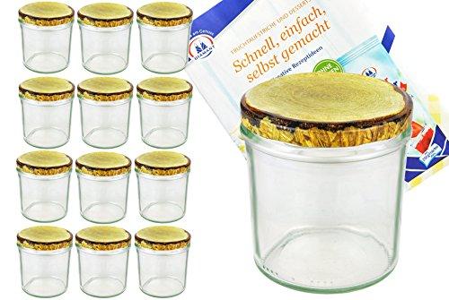 Lot de 12 bocaux en verre 350 ml bocaux en verre Verre Confiture couvercles dorés To 82 décor de bois couvercle incl. Diamant de sucre gelier magique recettes