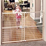 Toddleroo by North States 50' wide Quick Fit Wire Mesh Baby Gate: hassle free ratchet system for quick custom fit. Pressure mount. Fits 29.5'- 50' wide (32' tall, Sustainable Hardwood)