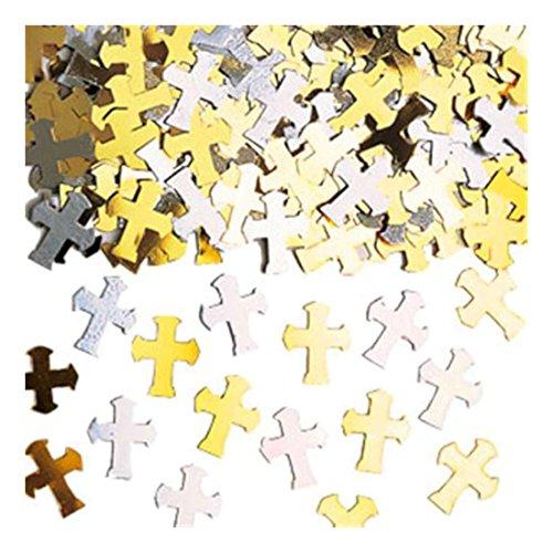 Amscan Or Et Argent Croix Religieux Metalique Table Confetti Paillettes