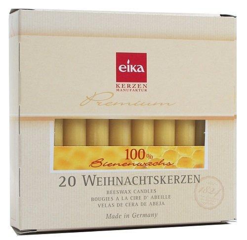 Eika 10266810 Baumkerzen 100% Bienenwachs, naturgelb, 20er Packung