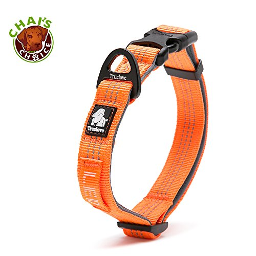 Chai's Choice Best Outdoor Adventure Pet Collar Model! 3M Reflective with Aluminum Leash Attachment. Matching Harness and Leash Available! (Large, Orange)