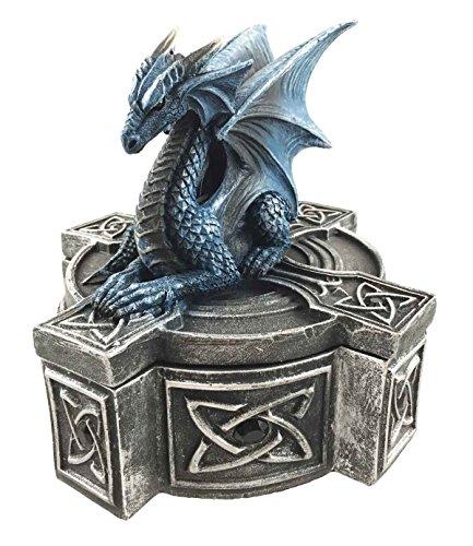 Ebros - Figura decorativa con diseño de cruz celta, diseño de dragón y dragón de reposo en caja de joyería