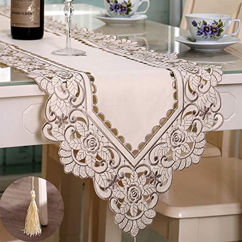 Arzoe Embroidered Lace Table Runner, Elegant Vintage Mantel Scarf,Dresser Scarves Cabinet Dining Room Table Decoration