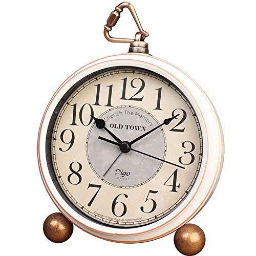 Desktop Bedside Round Desktop Clock-ultra-quiet Metal Small Alarm Clock-home Desk Cabinet Bedside Travel Alarm Clock-small Desktop Clock, Clock Ornaments-the Best Decoration Gifts floor & Grandfather