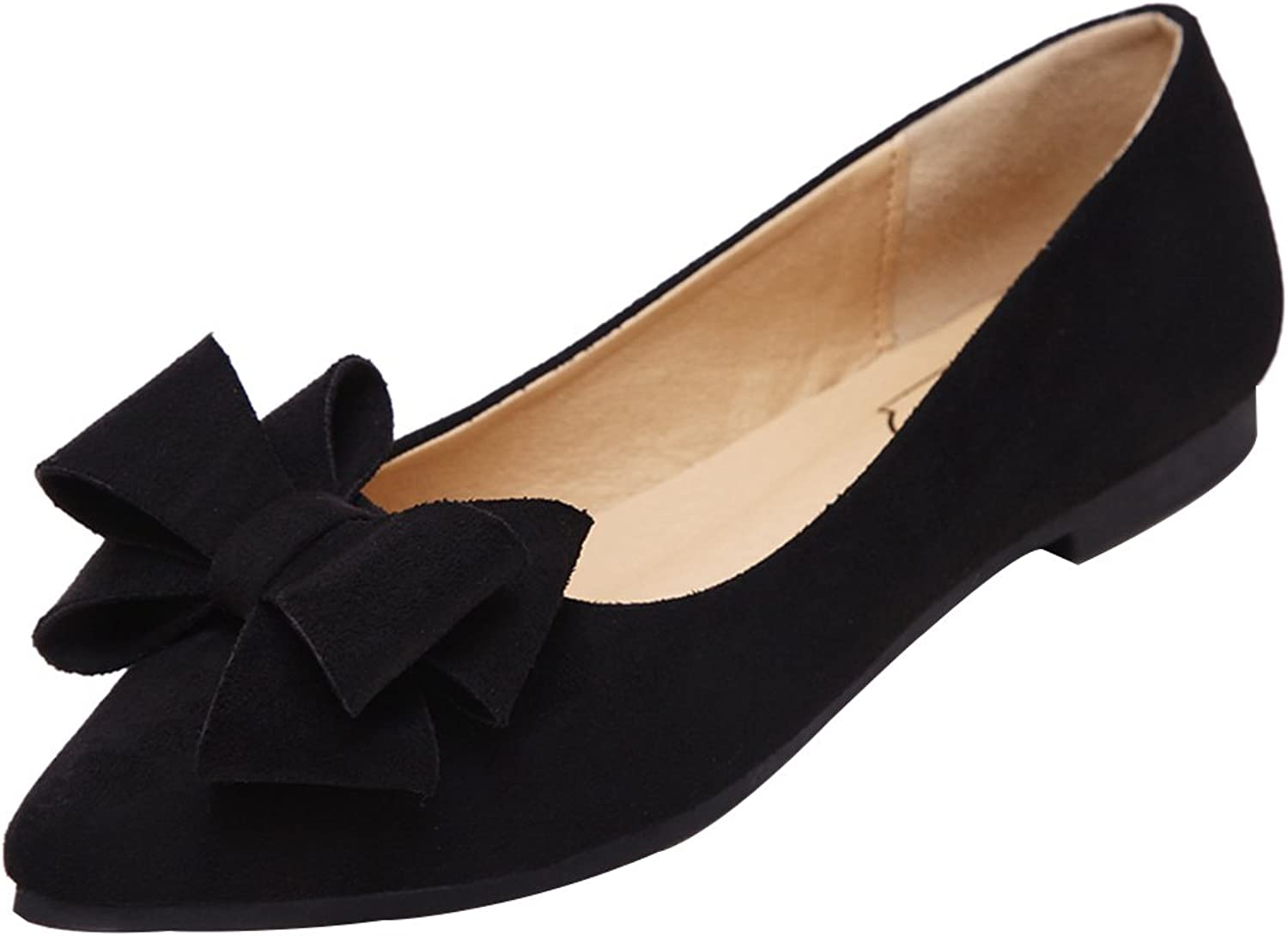 Kyle Walsh Pa Women Casual Bowknot Pointed Toe Suede Flats Slip On shoes