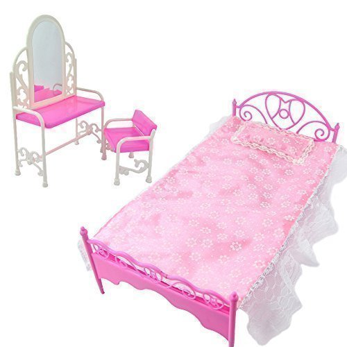 Fashion Pink Bed Dressing Table & Chair Set For Barbies Dolls Bedroom Furniture by Fat-cat-copy-catz