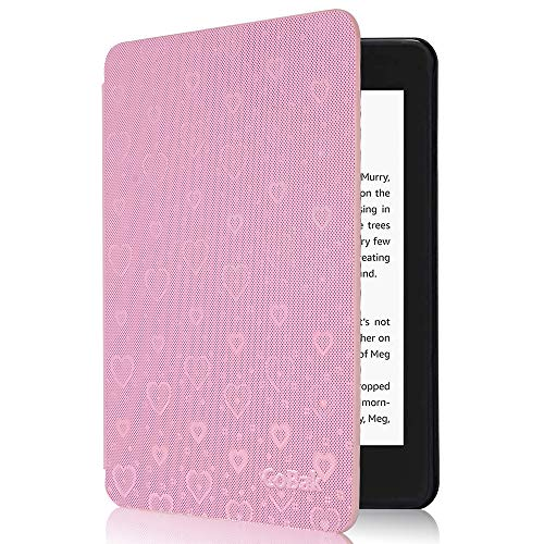 CoBak Kindle Paperwhite Case - All New PU Leather Smart Cover with Auto Sleep Wake Feature for Kindle Paperwhite 10th Generation 2018 Released, Pink Sparking Heart