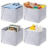 Juego de 4 cajas de almacenamiento plegables de fieltro, cesta de fieltro para habitación de los niños, organizador de fieltro, cesta para juguetes, ropa, toallas, artículos de bebé, revistas