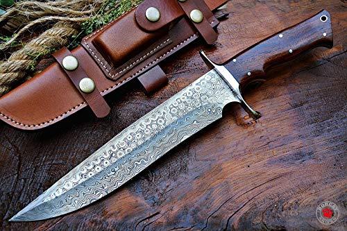 Bobcat Knives Custom Handmade Bowie Knife Hunting Knife Damascus Knife True Layers Damascus Steel Rambo Survival Knife Fixed Blade Knife with Bigcat Roar Leather Sheath