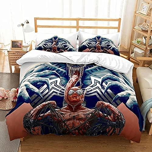WMSYJR Venom - Set di biancheria da letto Venom, 100% microfibra, per bambini, 3 pezzi, con 2 federe (Venom2,140 x 210 cm + 50 x 75 cm x 2)