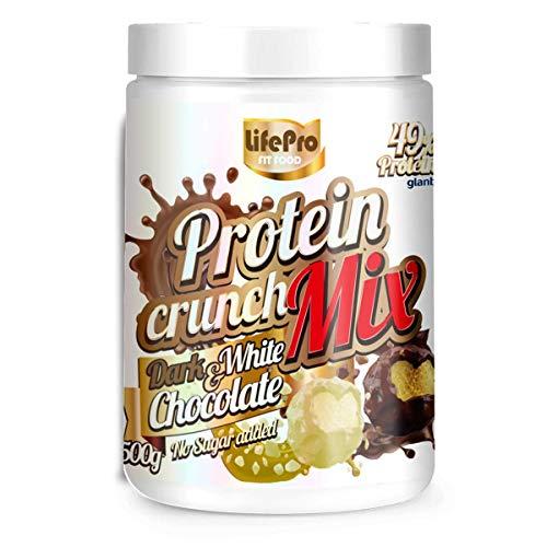 Life Pro Fit Food Protein Crunch 500g. Cereales Proteicos. Bolitas de Proteína Varios sabores. Bajo en Hidratos. Cuida tu alimentación. Hecho en España. (DARK CHOCOLATE & WHITE CHOCOLATE)