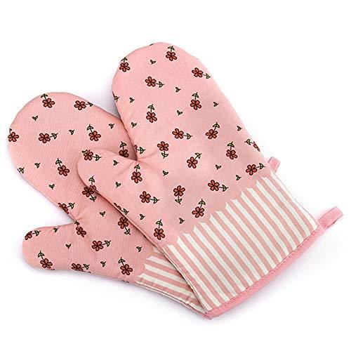 Hawiton Ofenhandschuhe Baumwolle Hitzebeständige Anti-Rutsch Topfhandschuhe Küche Backofen Handschuhe Geeignet für Kochen Backen Grillen (Pink-Blume)